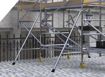 BoSS Cantilever Aluminium Access Towers - sturdy stabilisers for overall stability